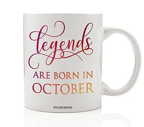 Amazon Com Legends Are Born In October Mug Birth Month Quote Diva