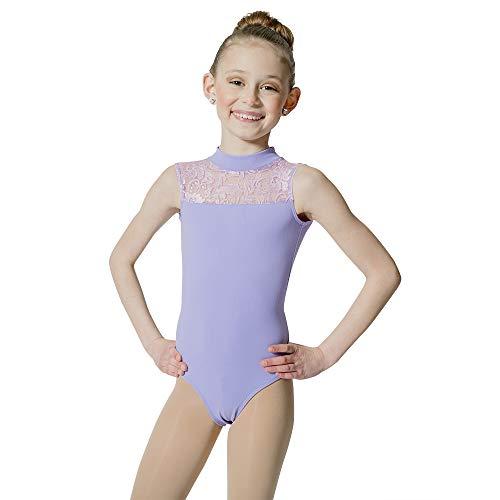 HDW DANCE Kids Girls Ballet Dance Leotard Lace Turtle Neck Open Back Cotton ... (Medium, Light Grape)