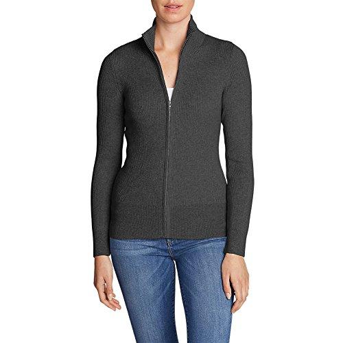 Eddie Bauer Women's Medina Zip Cardigan Sweater, Charcoal Htr Regular (Zip Cardigan)