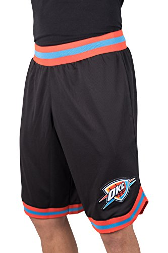 Ultra Game NBA Oklahoma City Thunder Men's Basic Woven Mesh Basketball Shorts, XX-Large, Black