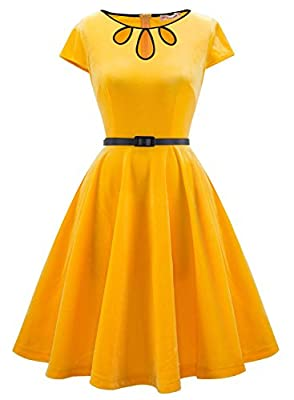 MUADRESS Vintage Velvet Retro Cocktail Party Dress With Cap-Sleeves Prom Dress