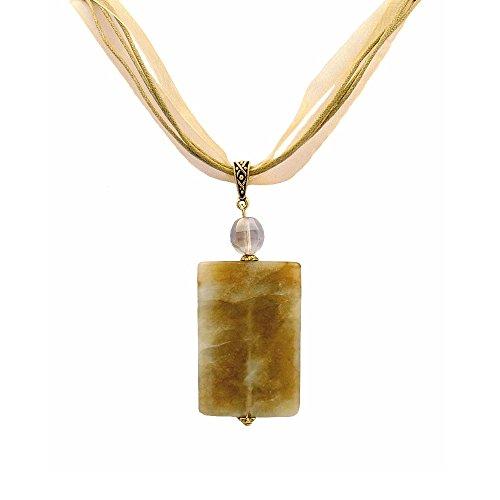 (A-Ha - Tri Color Jade Pendant Necklace on Multi Strand Cord)