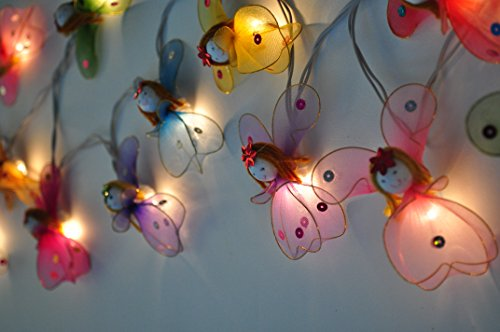 CHAINUPON Angels Fancy String Fairy Night Lights Kid Bedroom Children Decor Plug in Lights (Multi-colored) (Angel String)