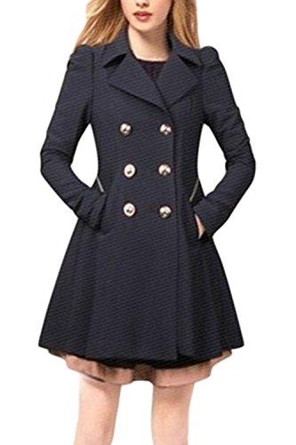 Style Tenue Crois Trenchcoat La Britannique De Corset Extrieur De Bureau De Bleu Revers Les xIq7HS