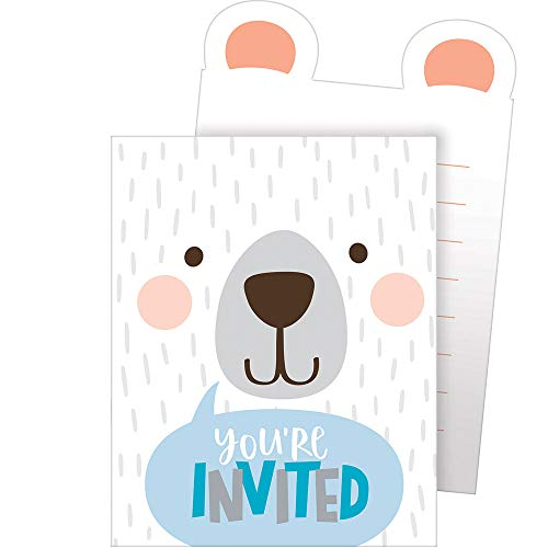 Polar Bear Invitations (Creative Converting Party Supplies, Bear Party Pop-up Invitations, Invites, Multicolor, 0.04X4X6in,)
