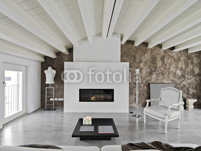 Soggiorno Moderno Con Camino (60674804), Poster, 120 x 90 cm: Amazon ...