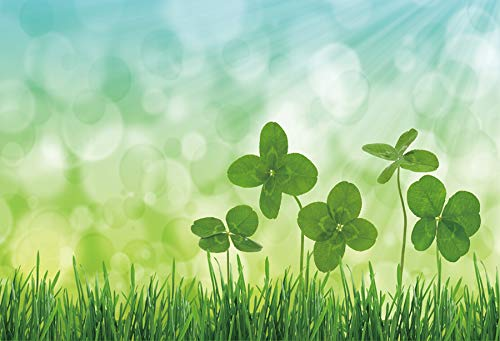 Leyiyi 5x3ft Photography Background Beautiful Four-Leaf Clovers Field Backdrop Lush Grass Virtual Decofus Sparkling Halo Bokeh Dreamy Blurry Dots Children Fridens Portraits Studio Props