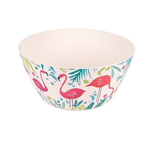 Cambridge CM06342 Eco Friendly Bamboo Dinnerware Bowls, Set of 4, Flamingo Print