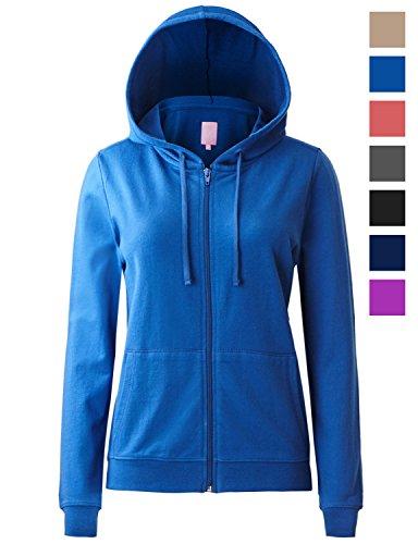 Full Zip Long Sleeve Sweater - Regna X Women's Long Comfy Warm Knitted Full Zip Hooded Sweatshirt Blue 3XL