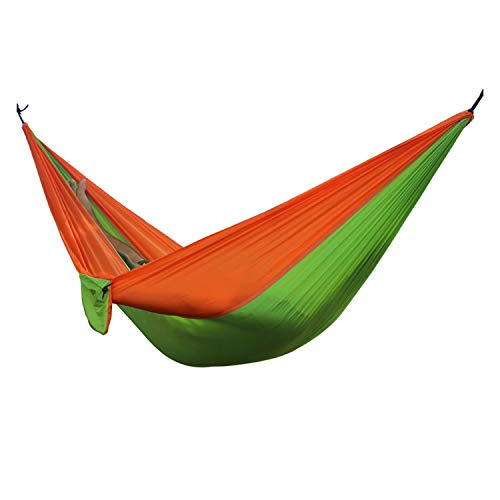 Fall In Love Portable Lightweight Nylon Parachute Double Hammock Multifunctional 2 People Hamak Camping Backpacking Travel Beach Yard Garden,Orange Green ()