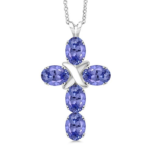 Tanzanite Cross Necklace (2.25 Ct Oval Blue Tanzanite 925 Sterling Silver Cross Pendant With Chain)