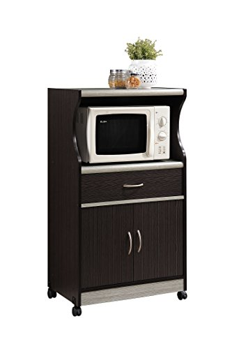 Hodedah Microwave Cart with One Drawer Two Doors and Shelf for Storage Chocolate