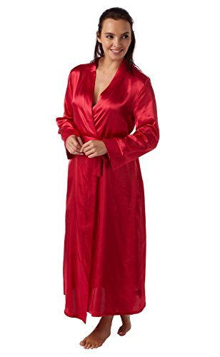 Robe de Chambre en Satin et Dentelle Luxe Doux Femme (Baie) 42-44