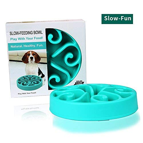 HWDID Pet Fun Feeder Dog Bowl - Slow Interactive Puzzle Dog Bowl - Bloat Stop Bowl for Dogs & Cats,Non-Skid