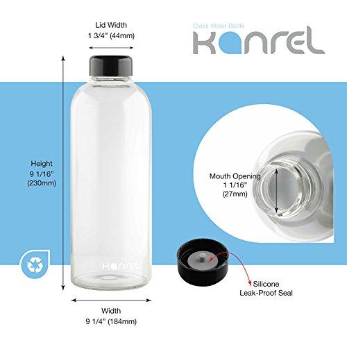XL Large Dishwasher Safe with Reusable Leak Proof Lid Milk 32oz Juice Smoothies Kombucha 32 Ounce Juicing Kanrel Glass Water Bottles 32 oz Best Bottle on  for Essential Oils Tea