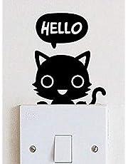 ملصق حائط هرة قطه ستيكر ديكور زر النور او الكهرباء او جرس البيت او اللابتوب