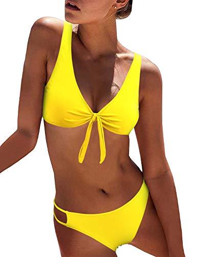 (BMJL Women's Sexy Detachable Padded Cutout Push Up Striped Bikini Set Two Piece Swimsuit (Small, Yellow))