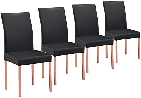 Kings Brand Rose Copper Finish Metal With Black Vinyl Kitchen Dinette Dining Chairs, Set of 4