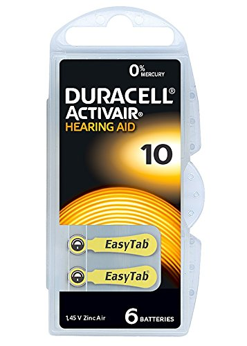 Pack of 6 Duracell 10 DA10 n6 A10 Yellow Tab Activair Hearing Aid  Batteries Long expiry
