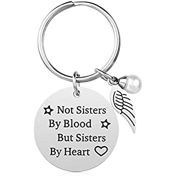 Not Sisters By Blood But Heart Friendship Keychain For Women Teen Girls Best Friend