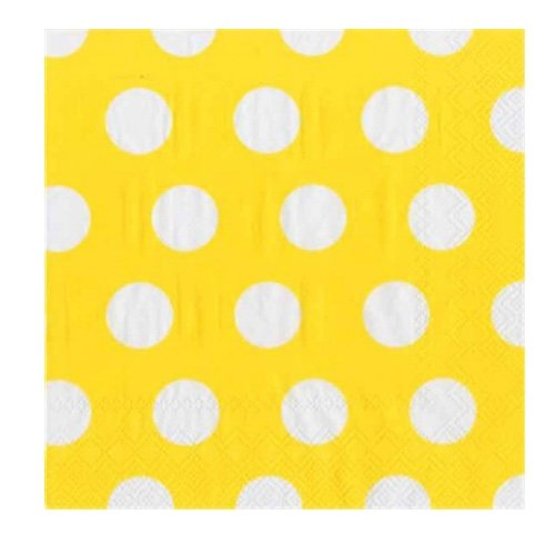 (Ideal Home Range 20 Count 3-Ply Big Dots Paper Luncheon Napkins, Buttercup)