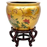 Oriental Furniture 16'' Gold Leaf Birds & Flowers Fishbowl