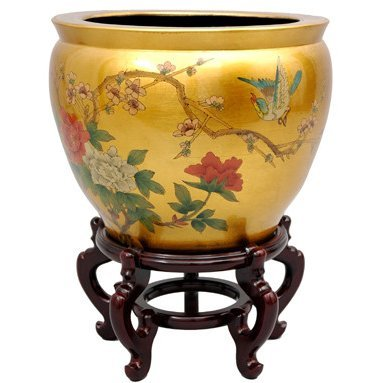 Oriental Furniture 16'' Gold Leaf Birds & Flowers Fishbowl by ORIENTAL FURNITURE