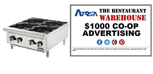 (Atosa USA ATHP-24-4 Heavy Duty Stainless Steel 24-Inch Four Burner Hotplate - Propane)