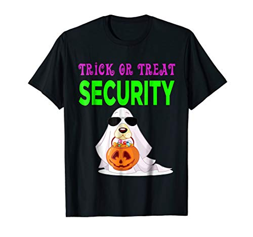 Trick or Treat Security Halloween Candy Dog in Ghost Costume
