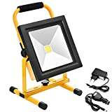 Echoming 30W LED Work Light,2400LM Portable Rechargeable 52 LED Flood Light IP65 Waterproof 360 Degree Adjustable Stand Working Light for Workshop,Construction Site, 200W Halogen Bulb Equivalent