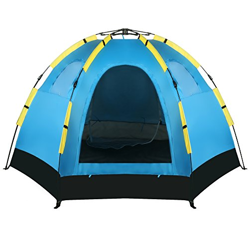 Waterproof Camping Quick Pop up Tent 2 Doors Family Hiking Beach Tent for 5-8 Person with Carry Bag Blue