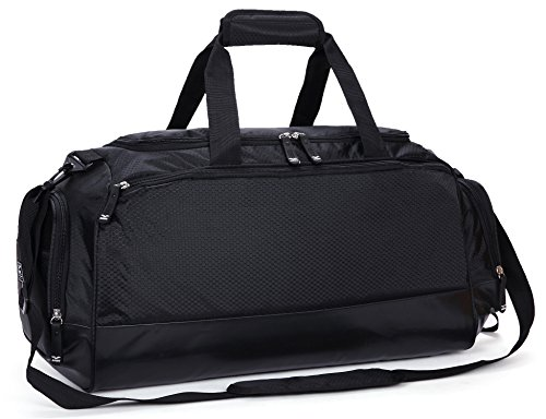 MIER Gym Bag with Shoe Compartment Men Travel Sports Duffel, 24 Inches, Black]()