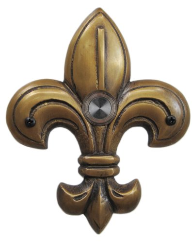 Waterwood Brass Medium Fleur De Lis Doorbell in Antique Brass (Door Fleur Lis De)