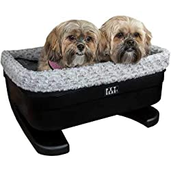 """Pet Gear Booster Seat for Dogs/Cats, Removable Washable Comfort Pillow + Liner, Safety Tethers Included, Installs in Seconds, No Tools Required, Black/Fog, 20"""""""