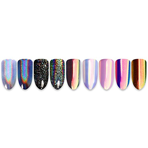 Born Pretty 2Boxes Nail Art Iridescent Powder and Chameleon Paillette Pigment with 1Boxes holographic Laser Powder
