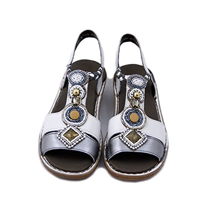 Scarpe E Borse Da Donna Sandali Ara Sandalo In Pelle Bianco argento Zeppa 4cm 1237275