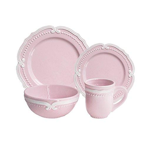 American Atelier 16 Piece Victoria Dinnerware Set, Blush (Shabby Chic Dishes)