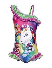 Jurebecia Unicorn One Piece Bathing Suit UPF 50+ Pool Party Kids Swimsuit