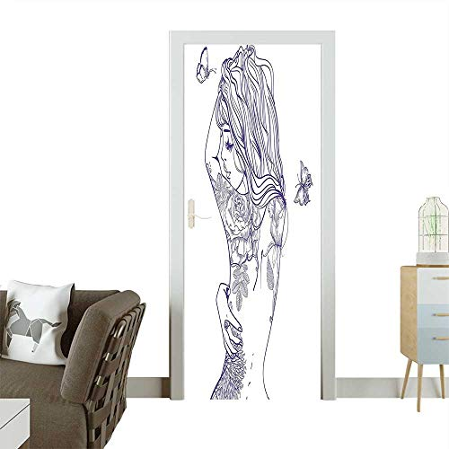 Modern Art Door Sticker Young Girl with Tattoos and Butterflies Free Your Soul Inspired Long Hair Feminine Environmentally Friendly decorationW38.5 x H79 - Butterfly Tattoos Celtic