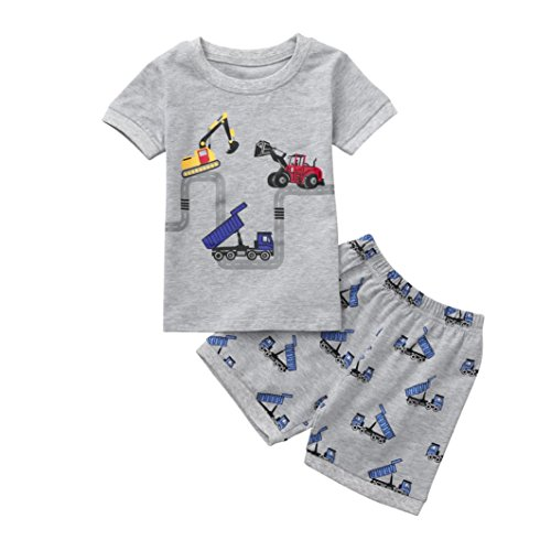 Moonker 2pcs Toddler Baby Boy Summer Set Cartoon Tops T-Shirt Tees and Excavator Dinosaur Shorts Outfits Clothes 2-7T (3-4 Years Old, Dark Gray-2) from Moonker