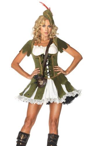 Leg Avenue Women's 3 Piece Thief Of Hearts Robin Hood Costume, Green/Multi, X-Large