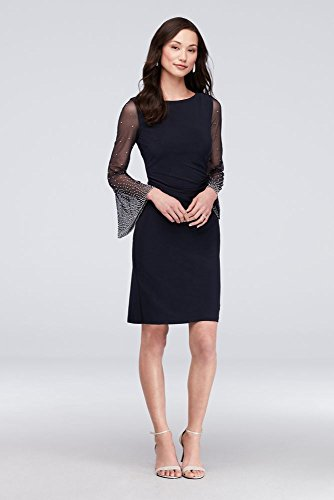 - Beaded Bell Sleeve Matte Jersey Cocktail Mother of Bride/Groom Dress Style 59754D, Navy, 12