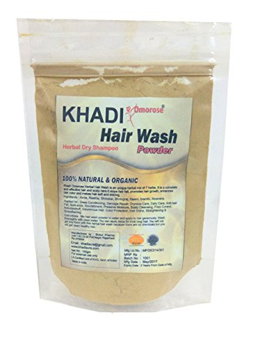 Khadi Hair Wash Powder (Dry Shampoo) 100 gms Organic and No Chemicals by Khadi Omorose