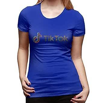 UXUEYING TIK TOK T-Shirt Blouses Women Short Sleeve Tops Blue