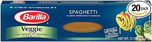 Barilla Veggie Pasta, Spaghetti, 12 Ounce (Pack of 20)
