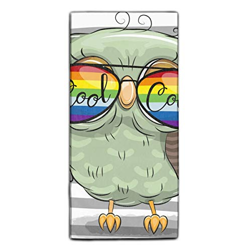 Cute Owl With Sun Glasses Fiber Reactive Printed Kitchen Dish Towel 11.8 × 27.5 Inches]()