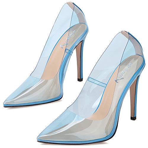 vivianly Fashion High Heel Pointed Toe Clear Pumps