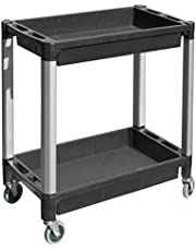 """MaxWorks 80384 Black and Gray Two-Tray Plastic Utility Cart with Aluminum Legs and 4"""" Diameter Swivel Castors"""
