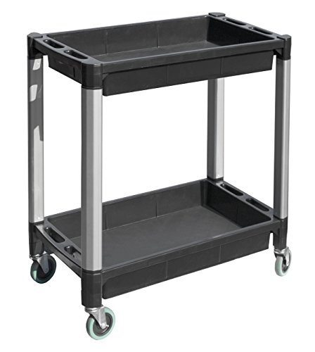 MaxWorks 80384 Black and Gray Two-Tray Service/Utility Cart With Aluminum Legs And 4' Diameter Swivel Castors