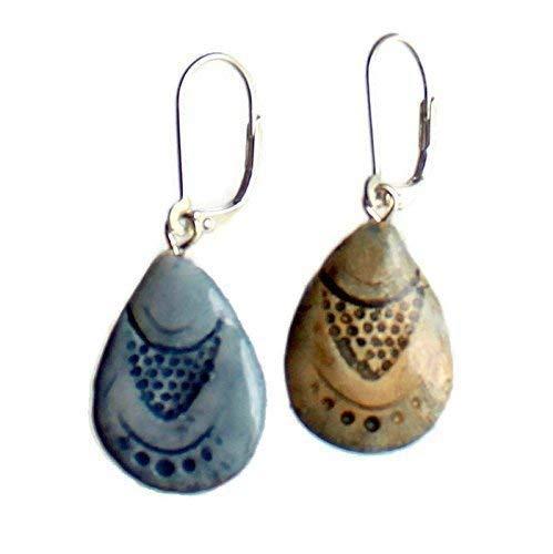 Teardrop Earrings Bohemian Seashell Clay Jewelry - REVERSIBLE 2 looks in 1 pair!
